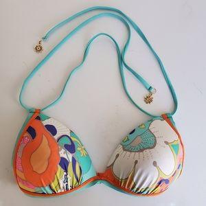 Trina Turk abstract floral halter bikini top